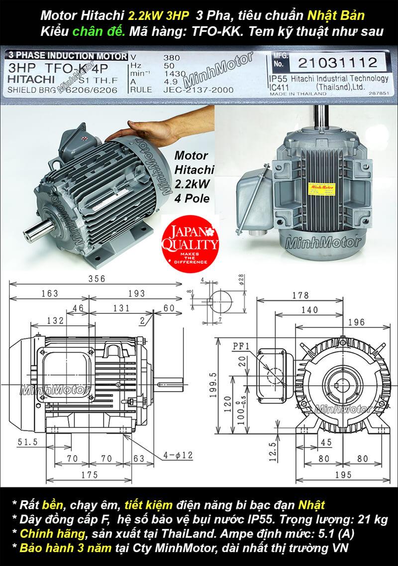 Motor hitachi 3hp 2.2kw chân đế