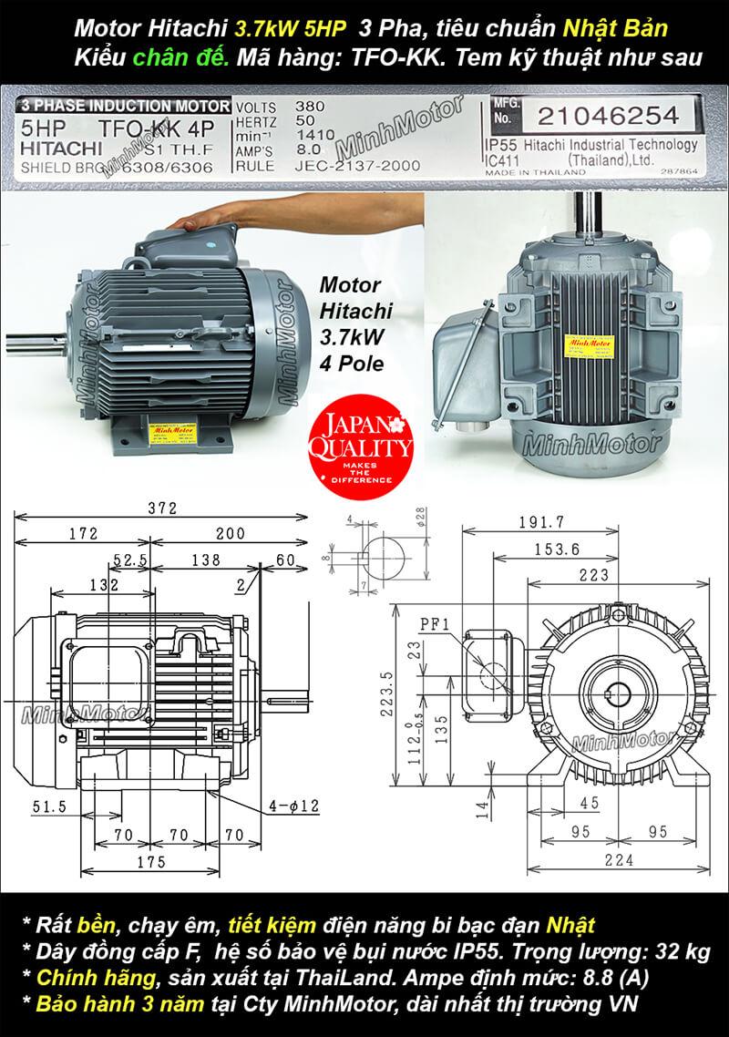 Bản vẽ kỹ thuật động cơ Hitachi 3.7kw 5HP 5 ngựa chân đế