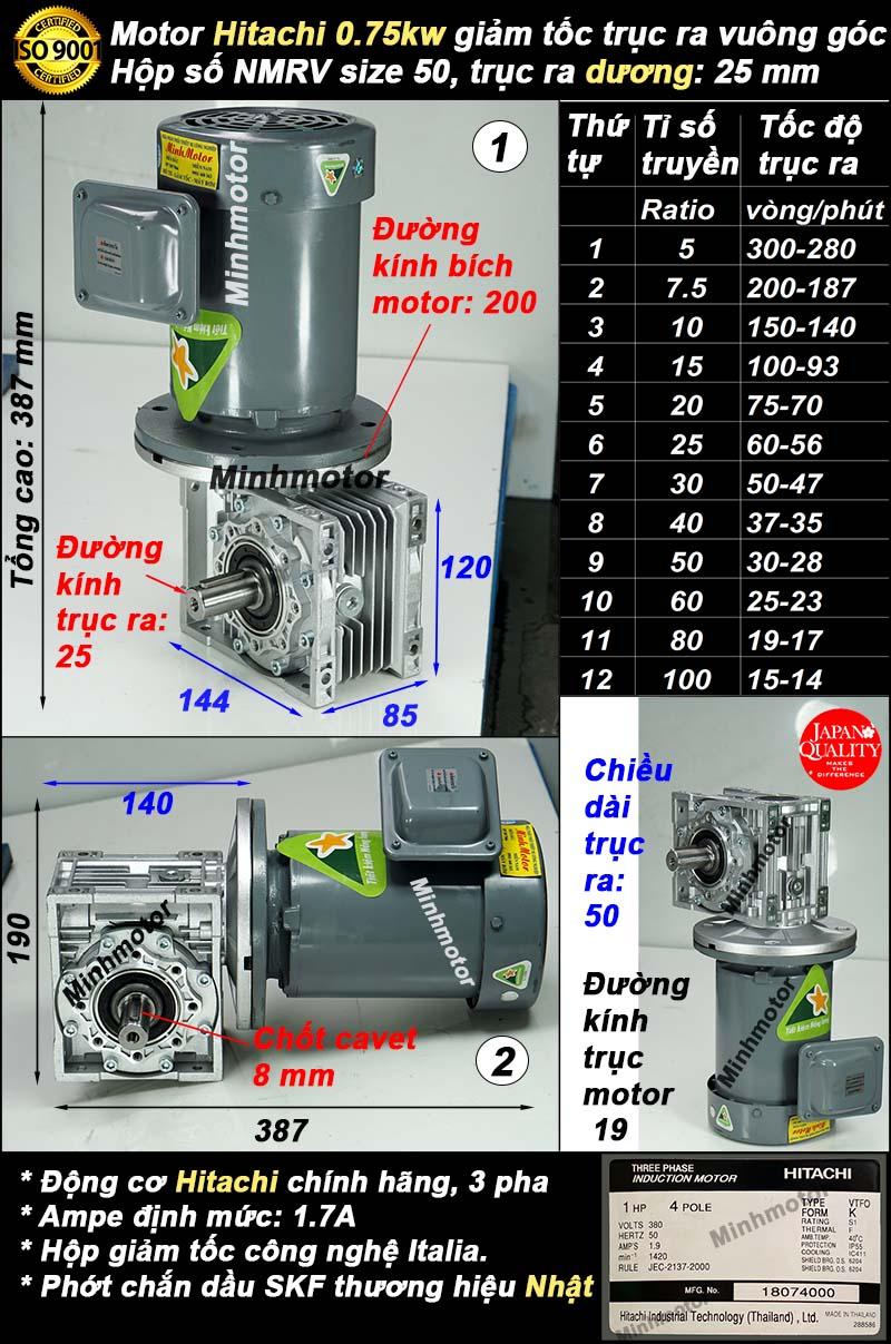 Motor Hitachi 1HP 0.75kw liền hộp mang tải NMRV50