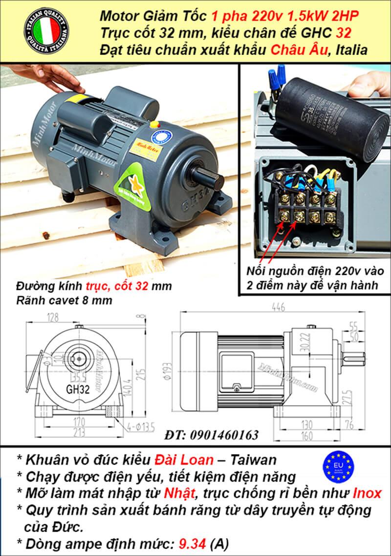 Motor 1.5kw 220v 1 pha 2hp tốc độ chậm