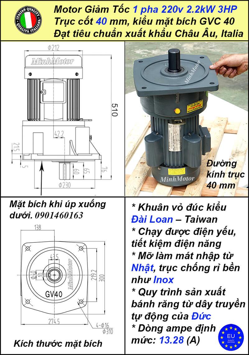 b) Motor 1 pha 3Hp 2.2kw tốc độ chậm kiểu mặt bích