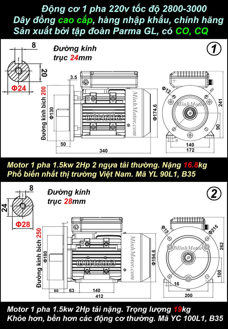 Bản vẽ motor 1 pha 1.5kw 2hp mặt bích