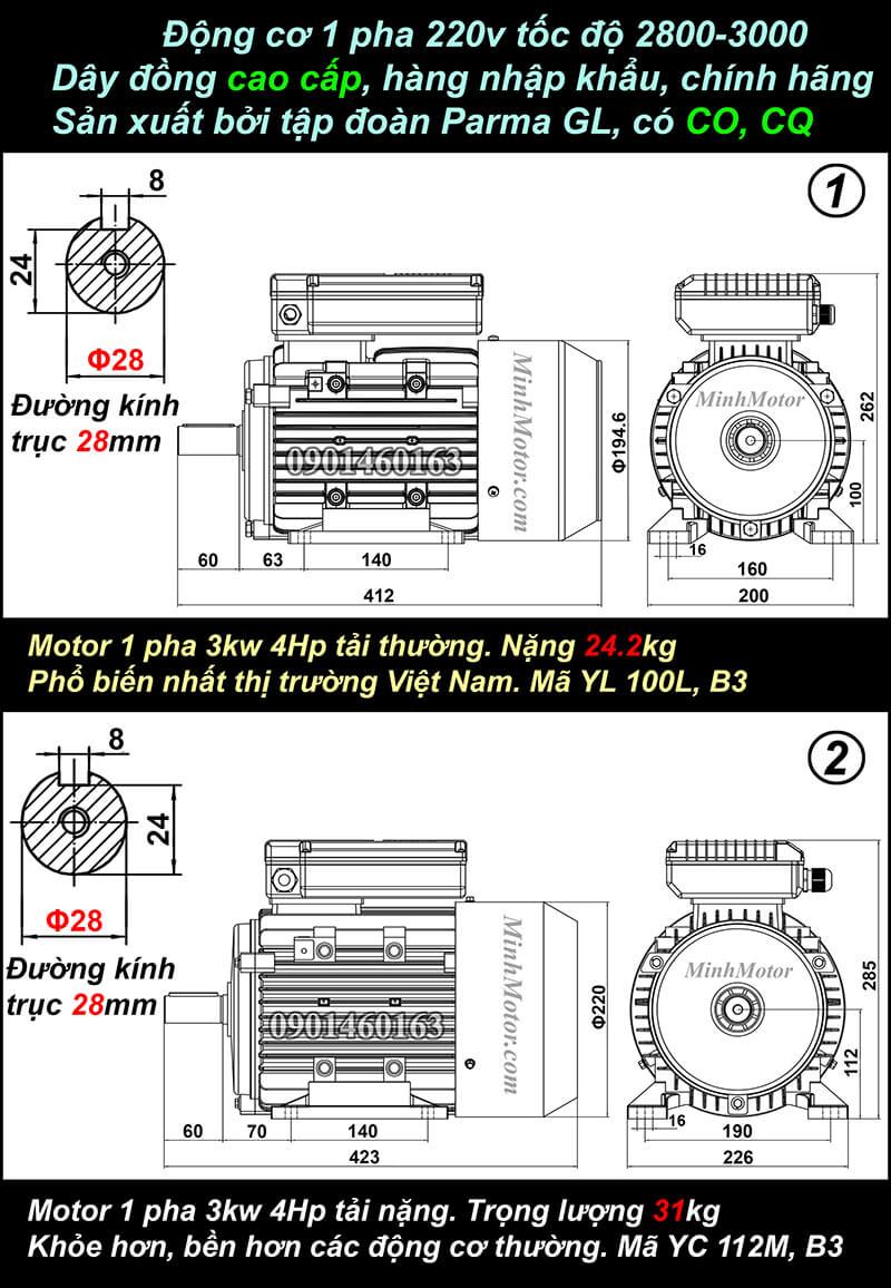 Bản vẽ động cơ 1 pha 3kw 4HP chân đế