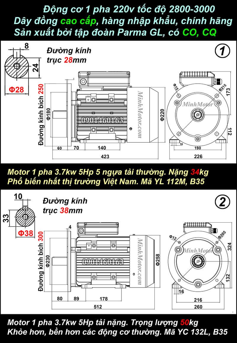 Bản vẽ motor 1 pha 3.7kw 5HP mặt bích