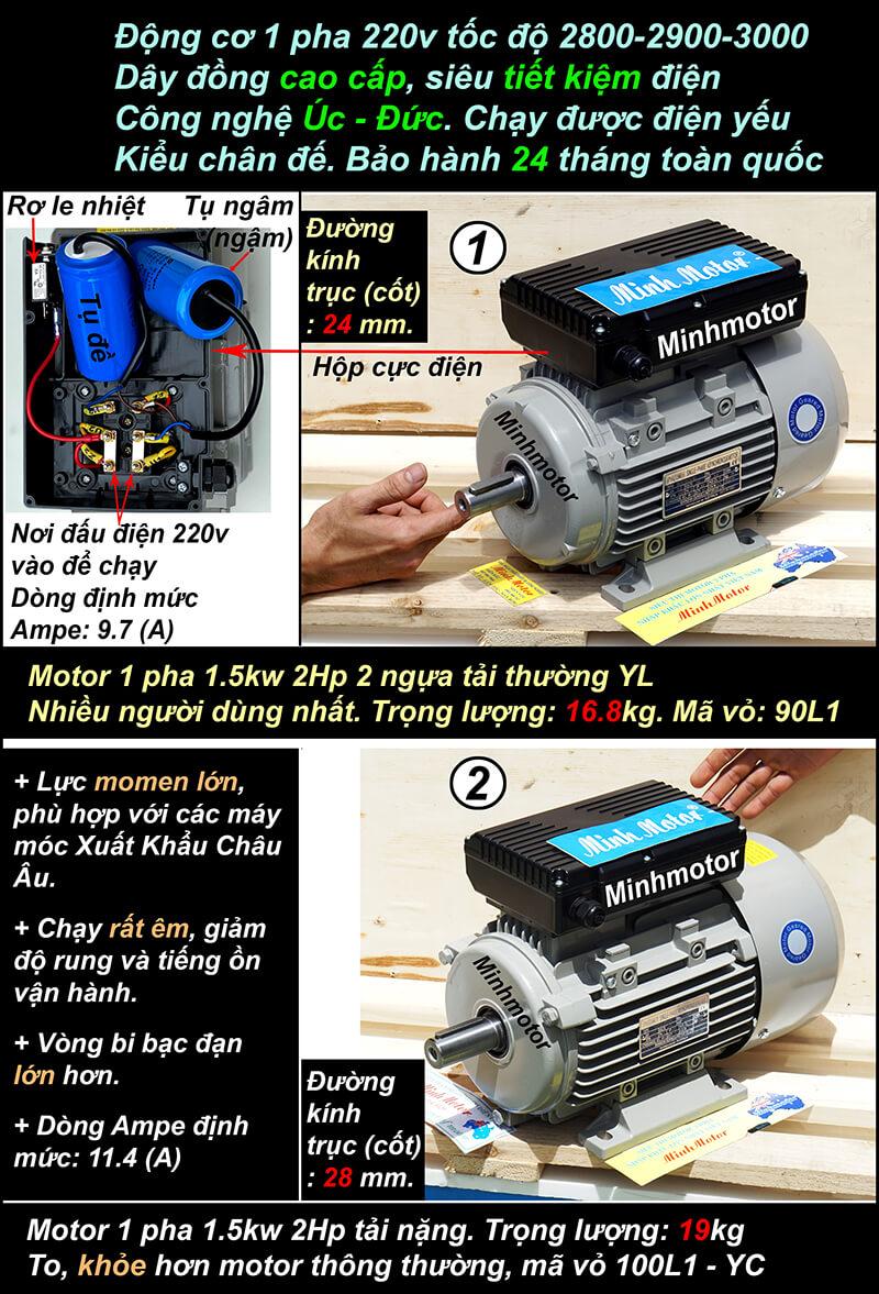 Motor 2hp 220v 1.5kw 1 pha chân đế 2 pole