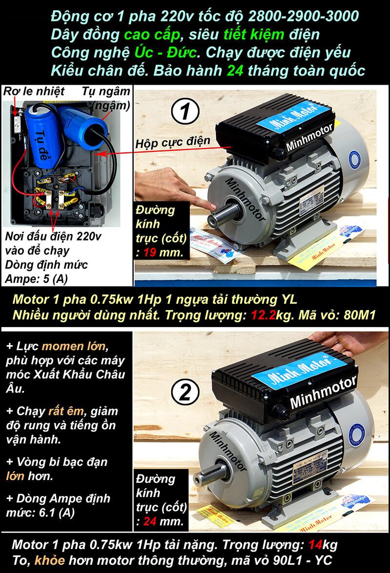 Motor 1 pha 1HP 0.75kwchân đế 2 pole