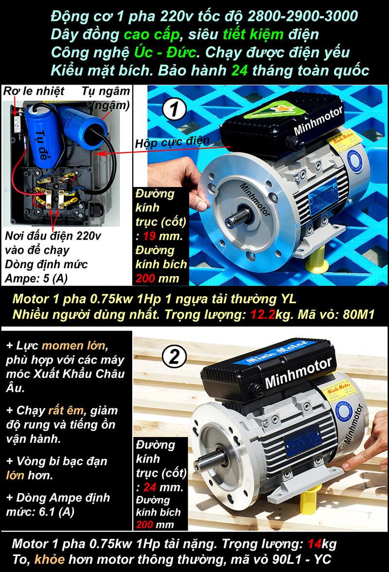 Motor 1 pha 1HP 0.75kw mặt bích 2900-3000 vòng
