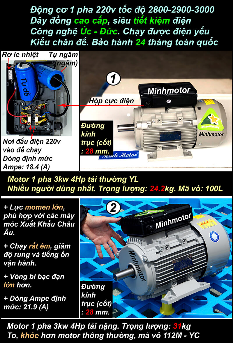 Motor 1 pha 4HP 3kw 220v chân đế 2 pole