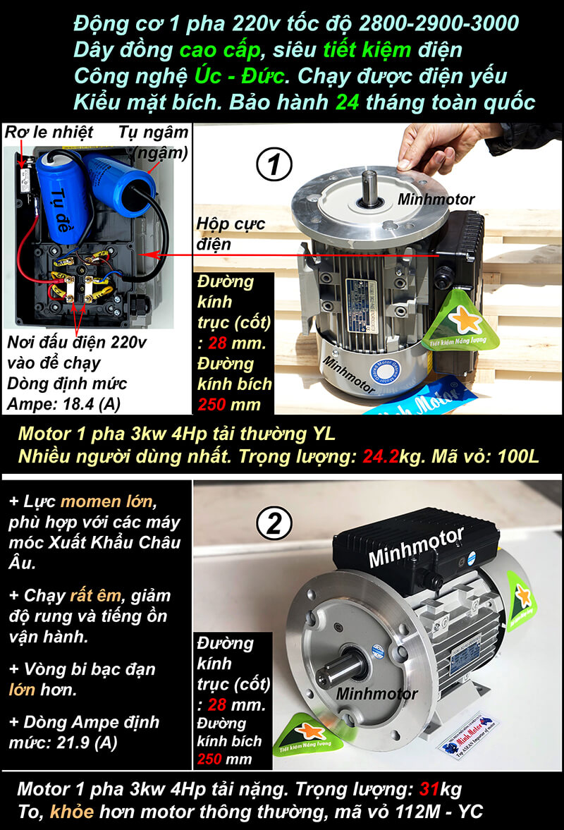 Motor 1 pha 4HP 220v mặt bích 2900-3000 vòng
