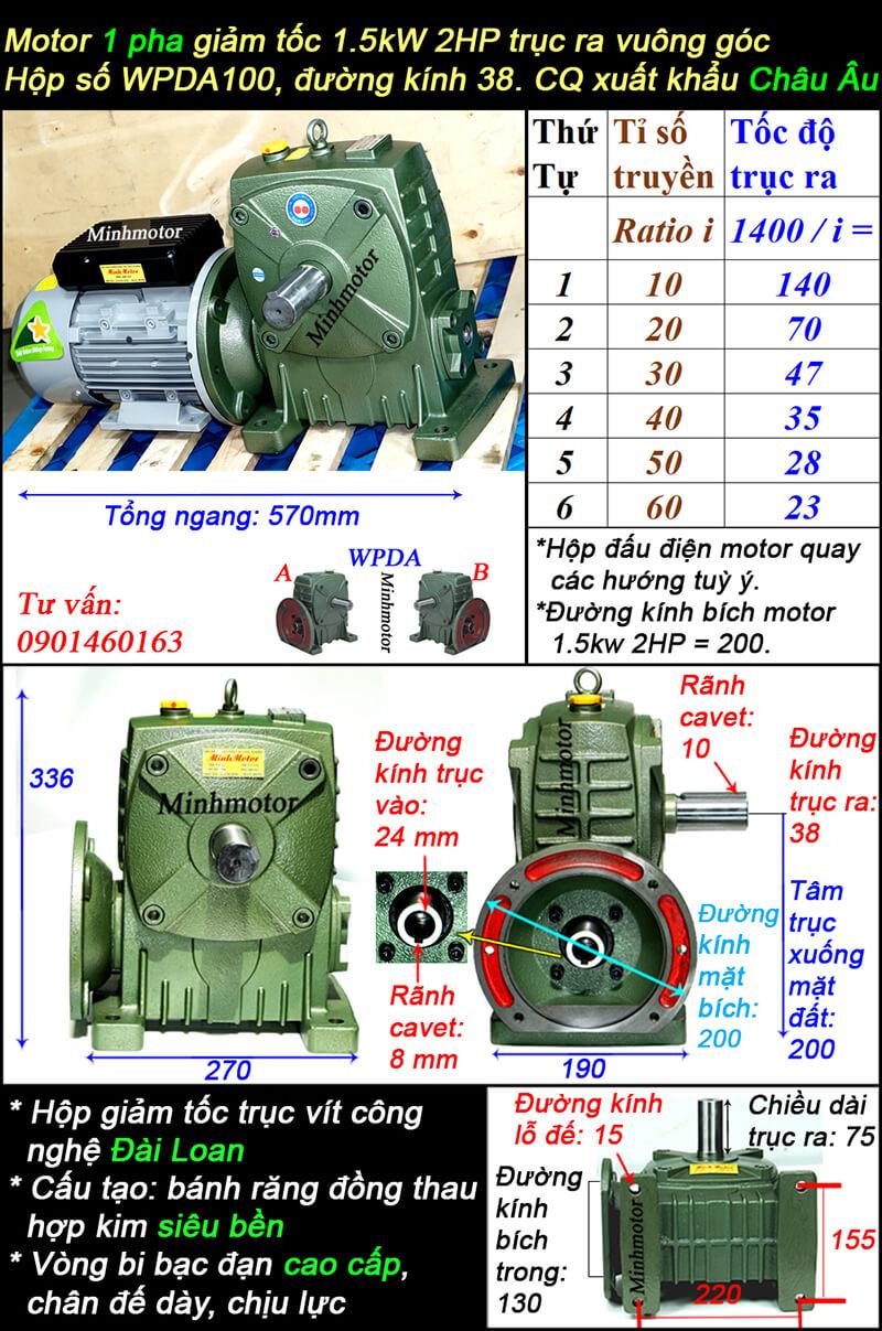 Motor 1.5kw 220v 2HP 1 pha trục ra vuông góc