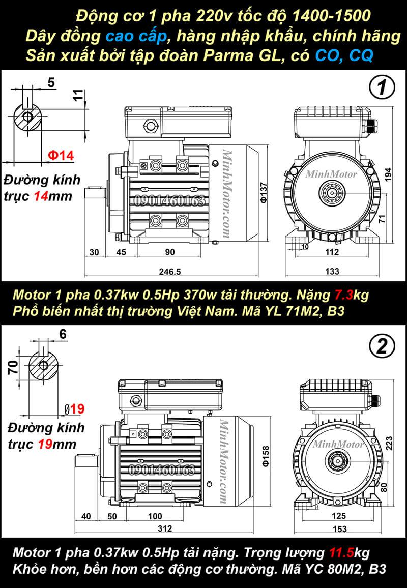 Bản vẽ motor 1 pha0.5HP 0.37kw chân đế