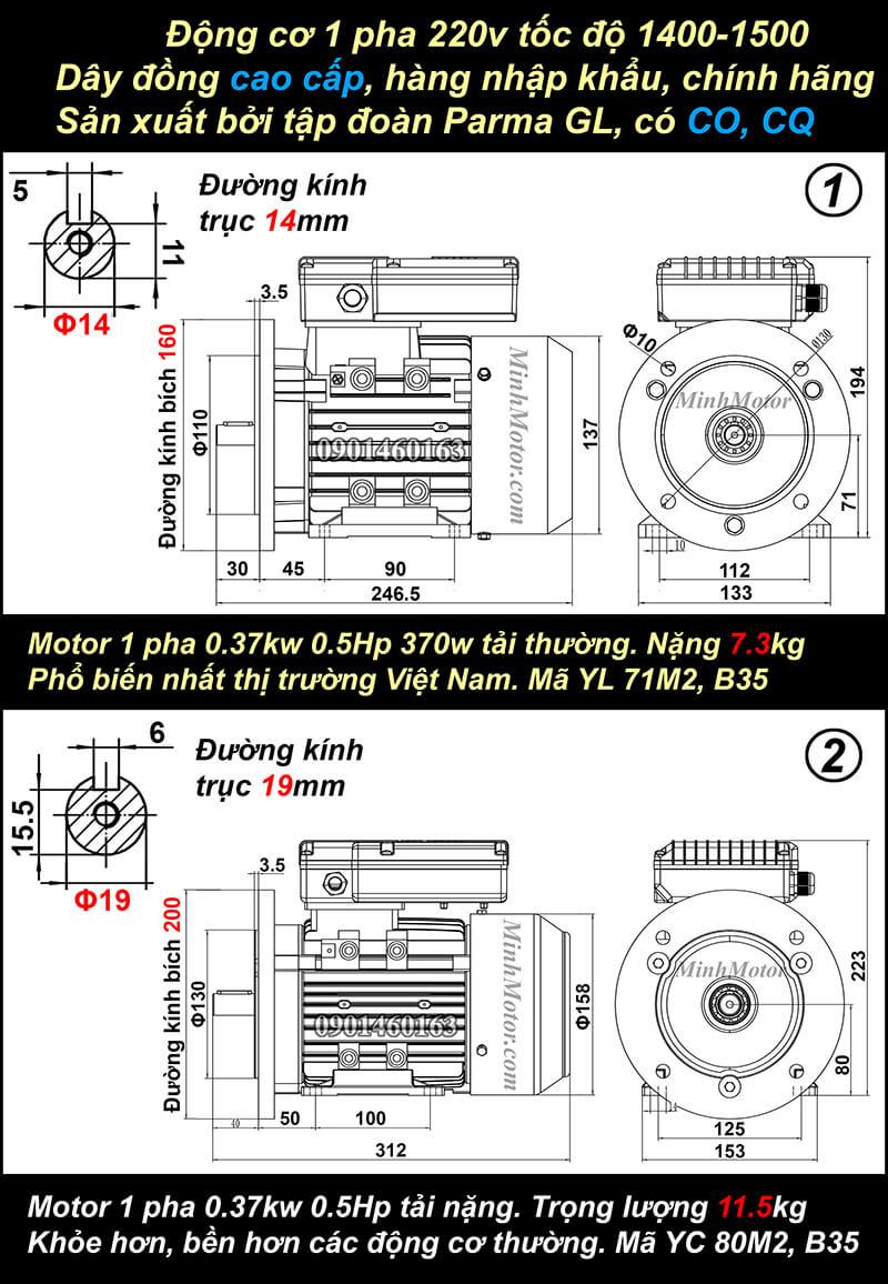 Bản vẽ động cơ 1 pha 0.37kw 0.5HP mặt bích