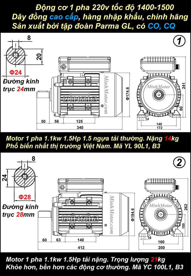 ản vẽ motor 1 pha1.5HP 1.1kw chân đế