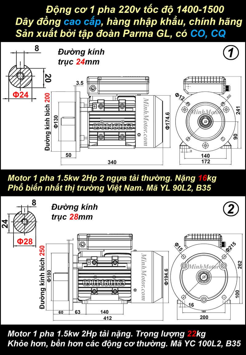 Động cơ điện 1.5kw 2hp mặt bích