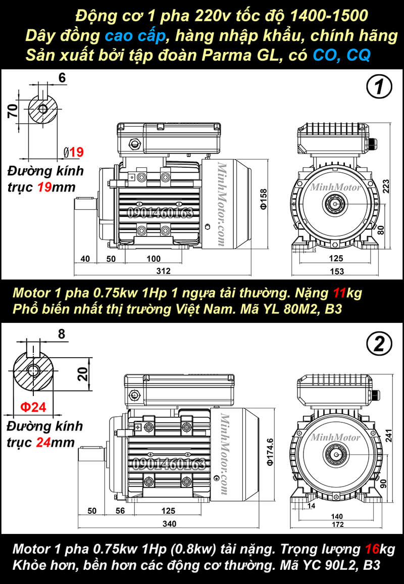 Motor 1HP 220V 0.75kw 1 pha chân đế