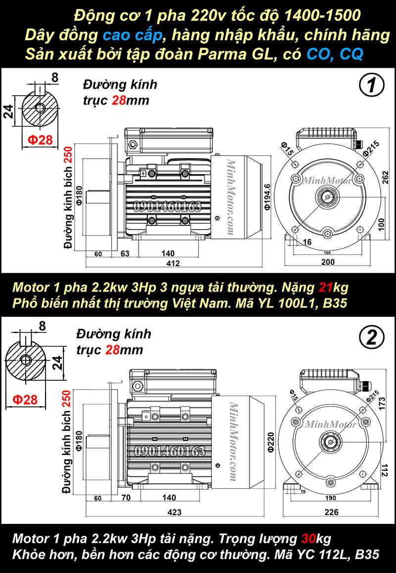 Bản vẽ động cơ 1 pha 2.2kw 3Hp mặt bích
