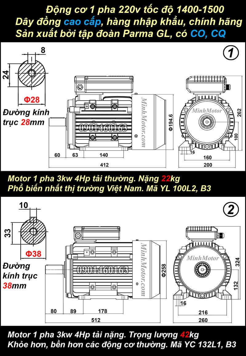 Bản vẽ motor 1 pha4HP 3kw chân đế