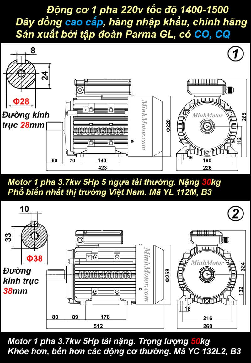 Bản vẽ motor 1 pha5HP 3.7kw chân đế
