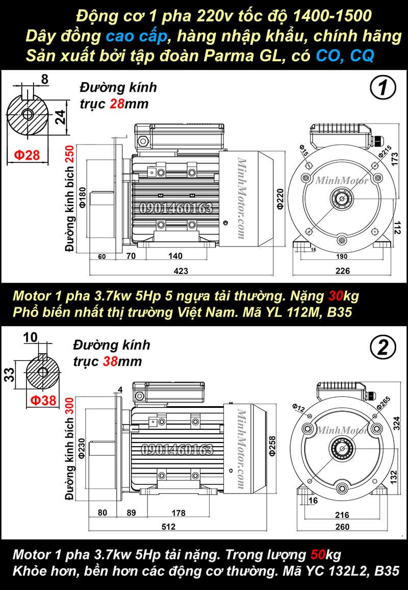 Bản vẽ động cơ 1 pha 5HP 3.7kw mặt bích