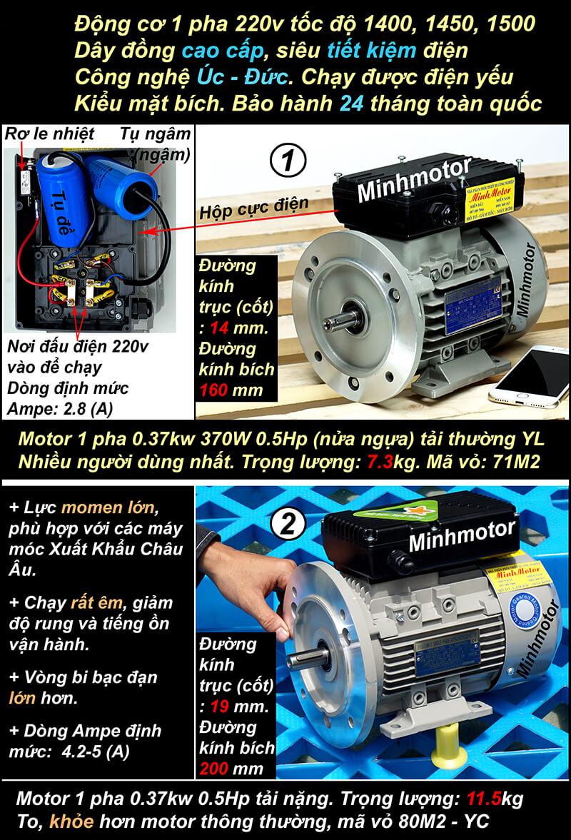 Thông số kỹ thuật động cơ 1 pha 0.37kw 0.5HP