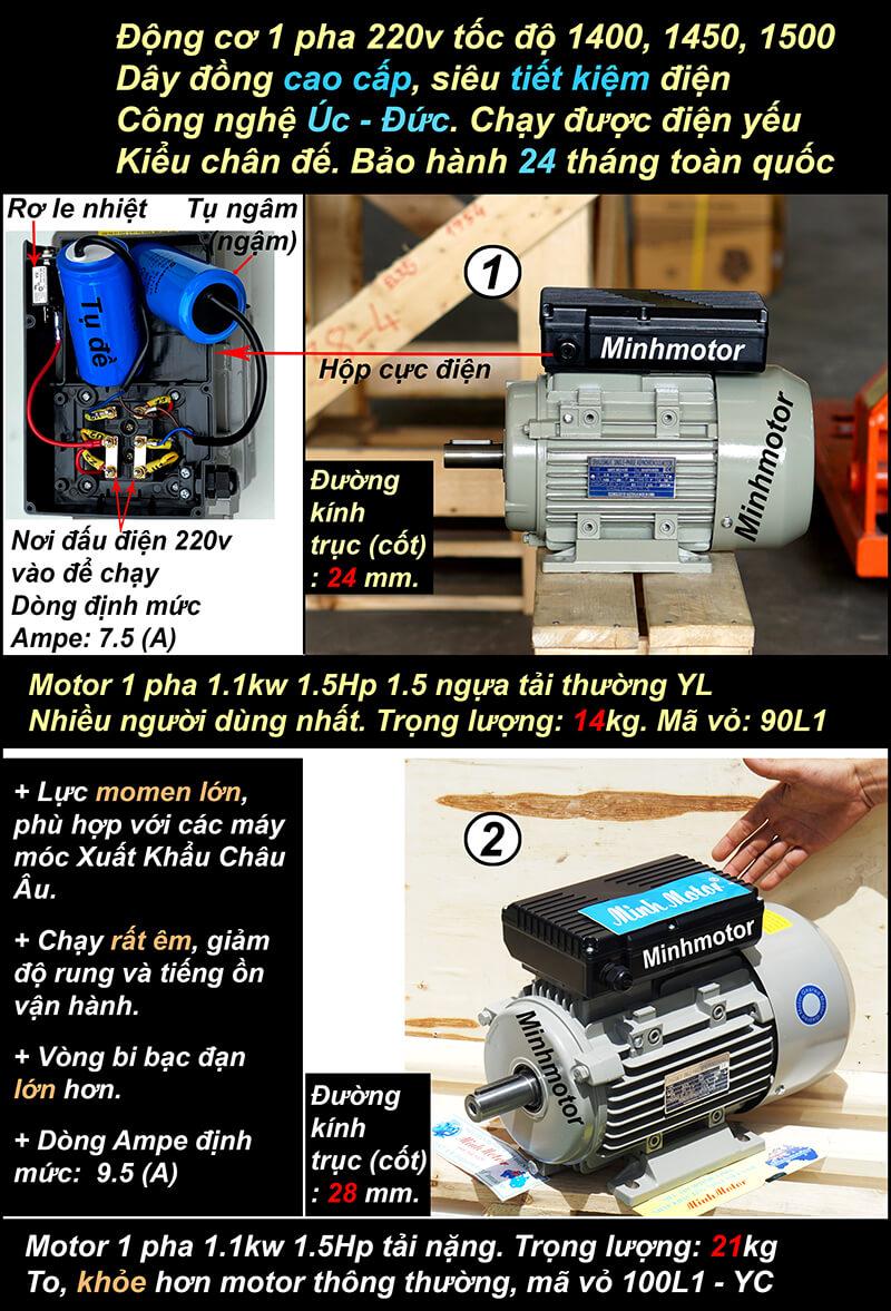 Motor 1.5HP 220V 1.1kw 1 pha chân đế