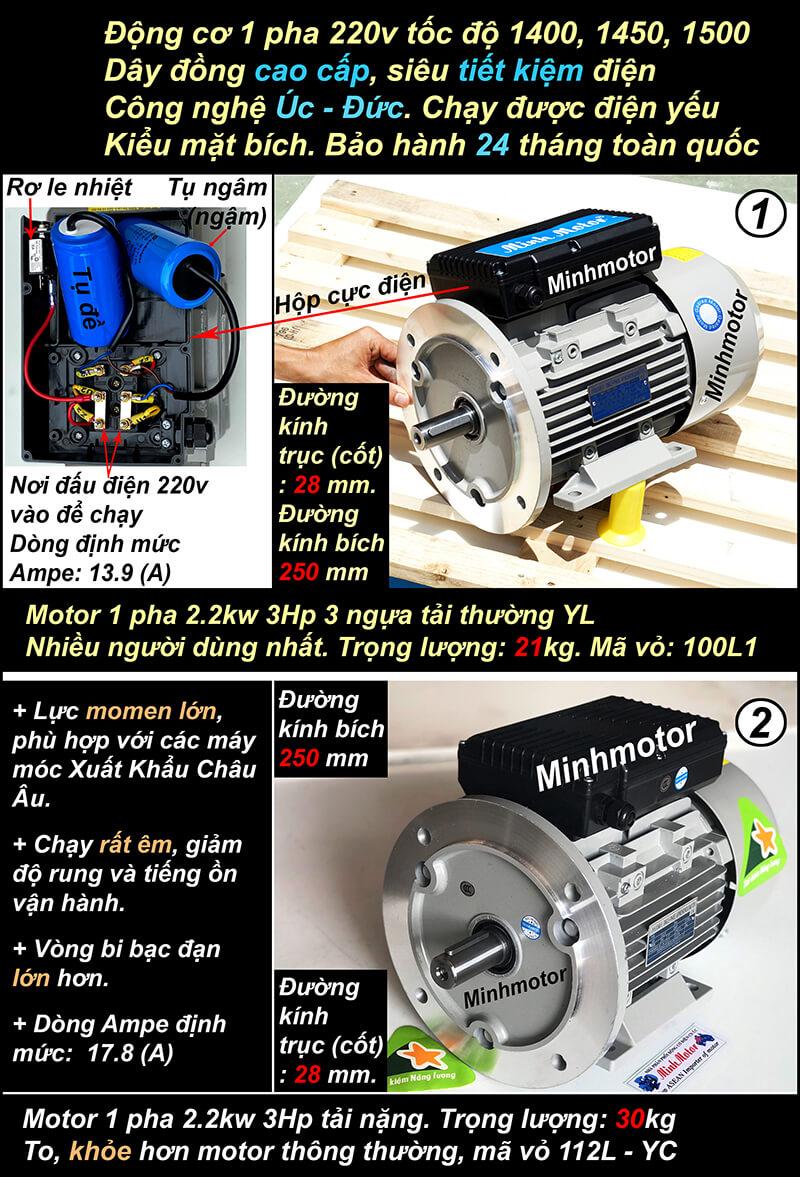 Motor 1 pha3Hp 220v 2.2kw mặt bích