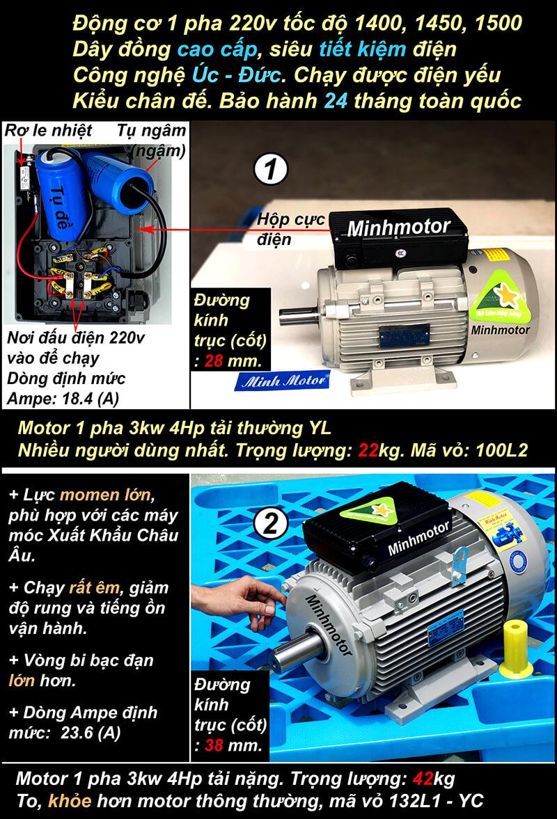 Motor 220v 3kw 4hp 1 pha chân đế