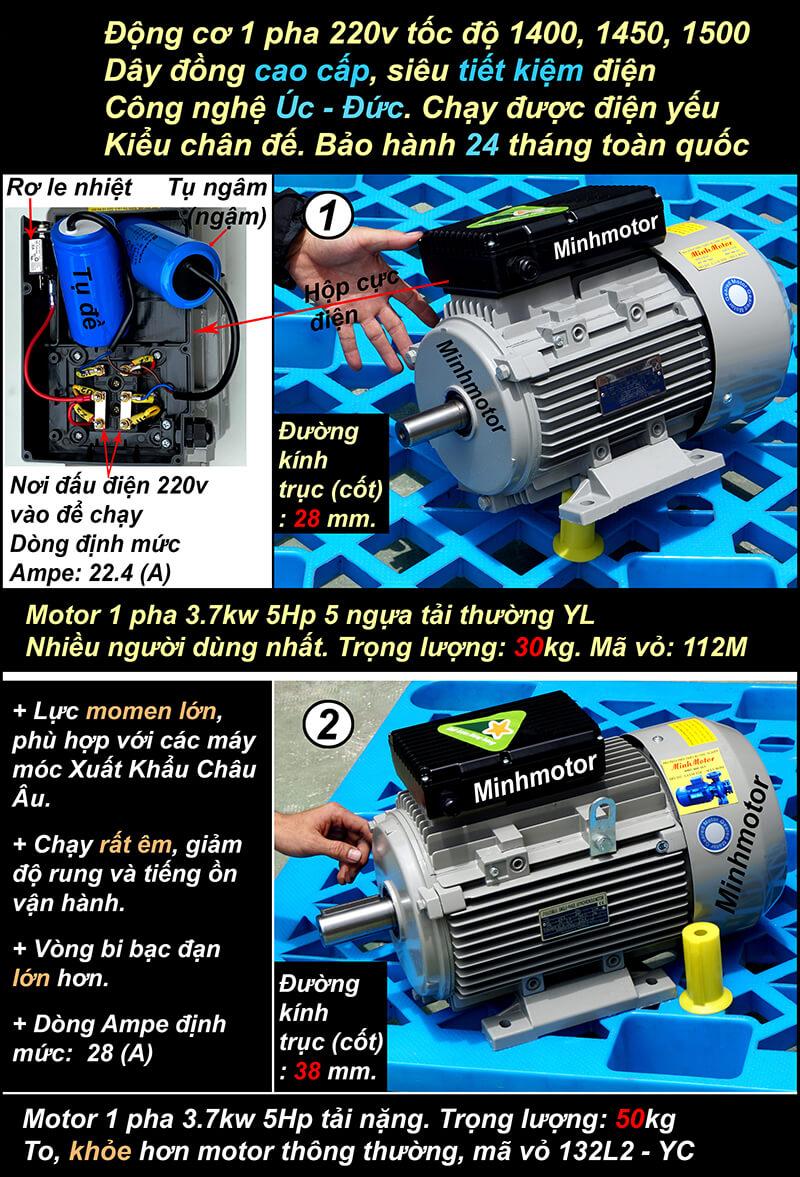 2) Motor 5HP 1 pha 220v 3.7kw chân đế