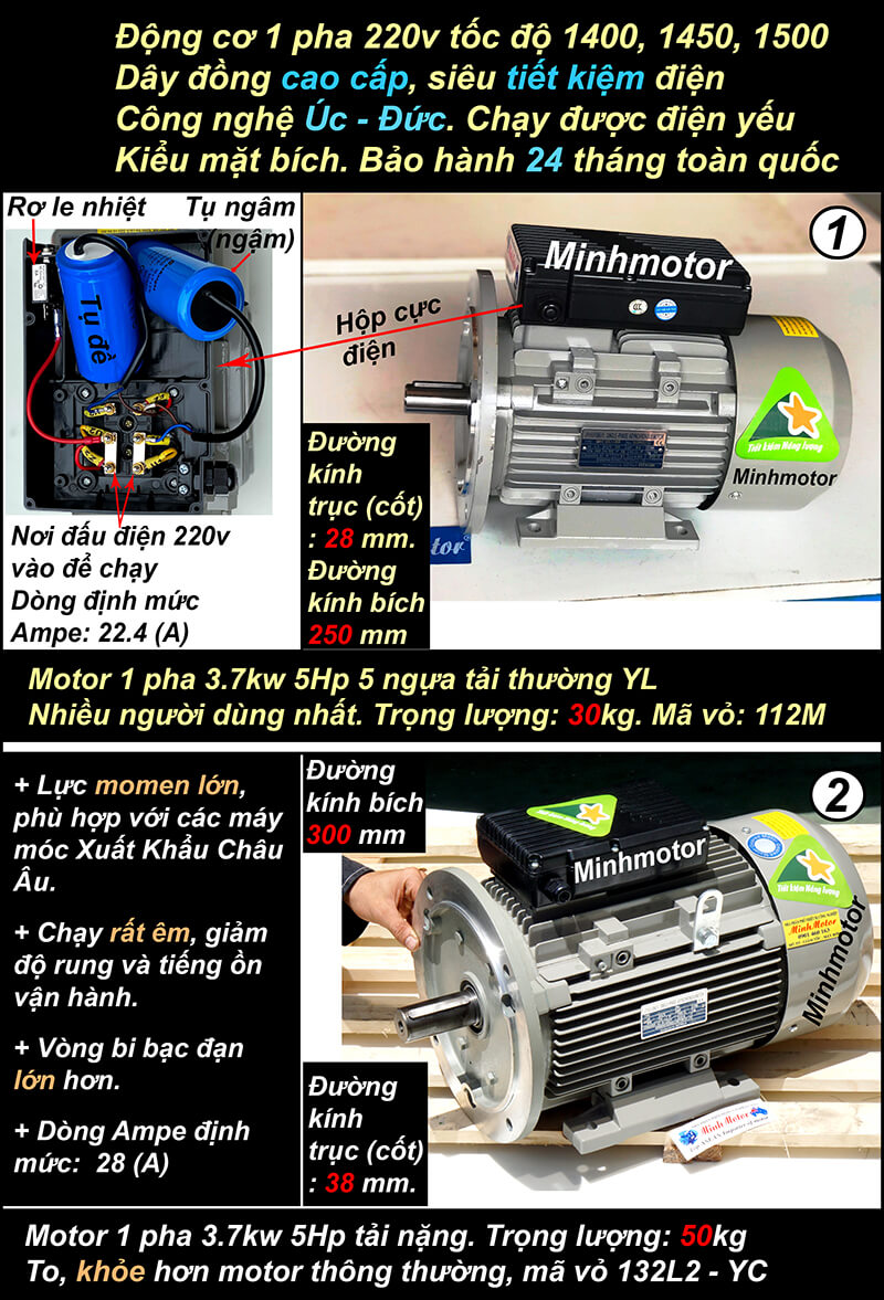 Motor 5HP 1 pha 220v 3.7kw mặt bích