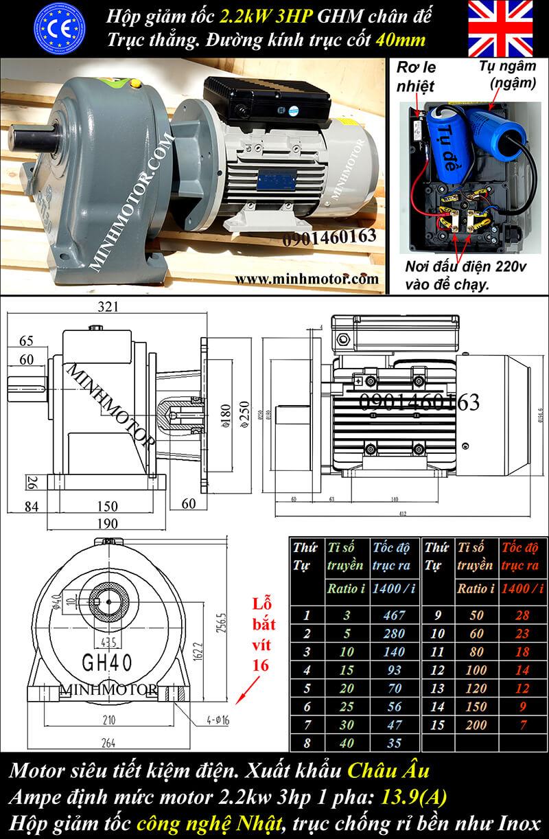 Motor 1 pha 2.2kw 3HP trục thẳng