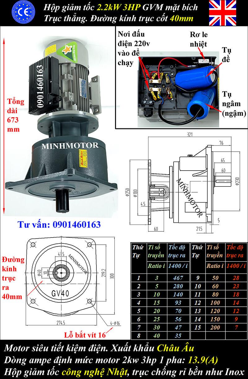 Motor 1.5kw 220v 1 pha mặt bích