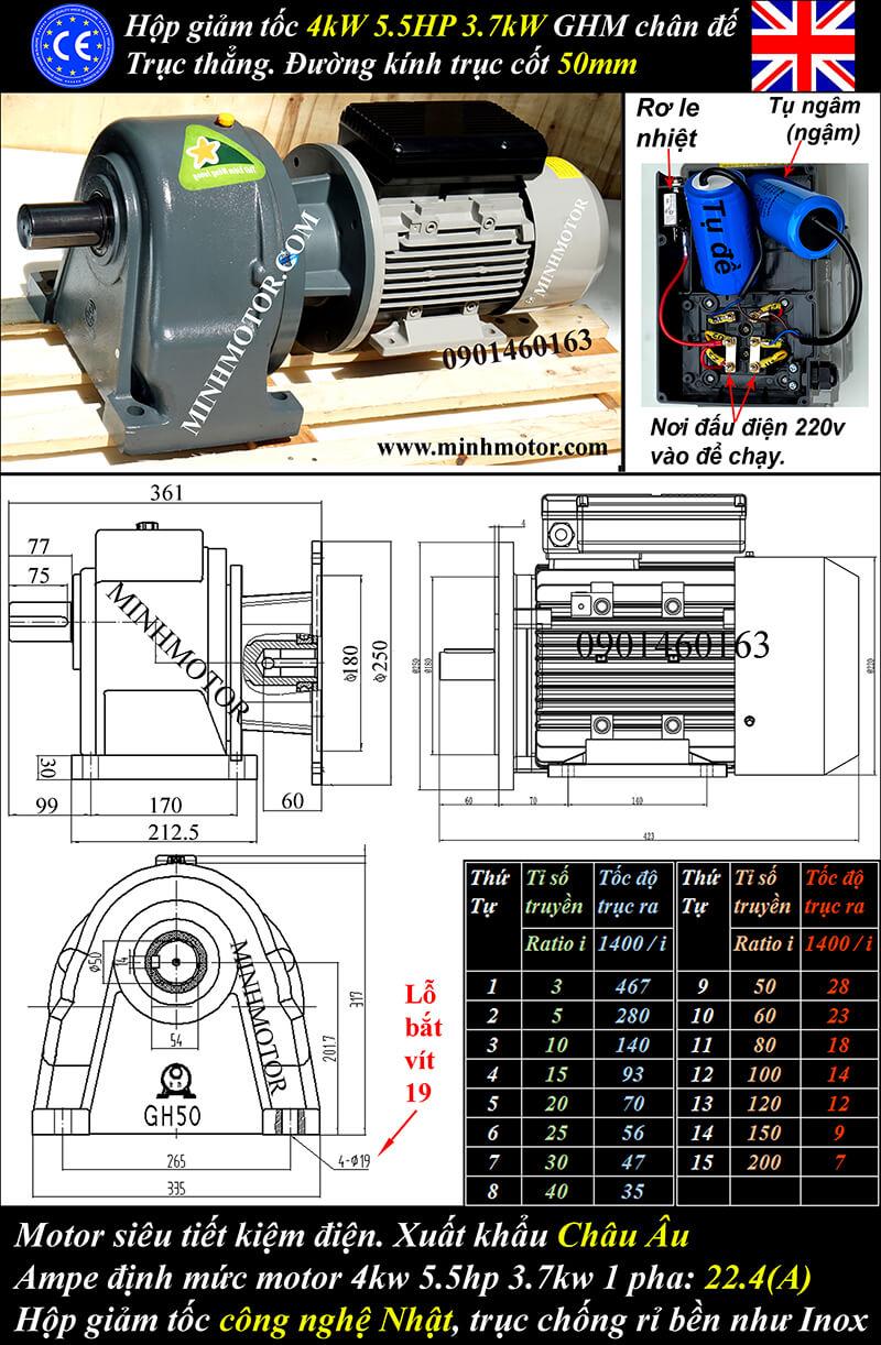 Motor 5HP 220v 1 pha 3.7kw trục thẳng