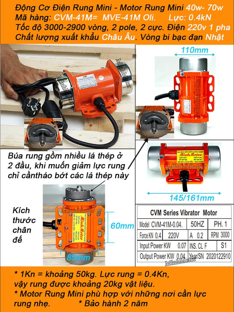 Motor rung 0.04kw 1 pha 220v, CVM-41M