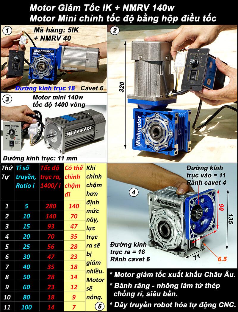 Động cơ giảm tốc 140w mini trục vuông góc, NMRV size 40