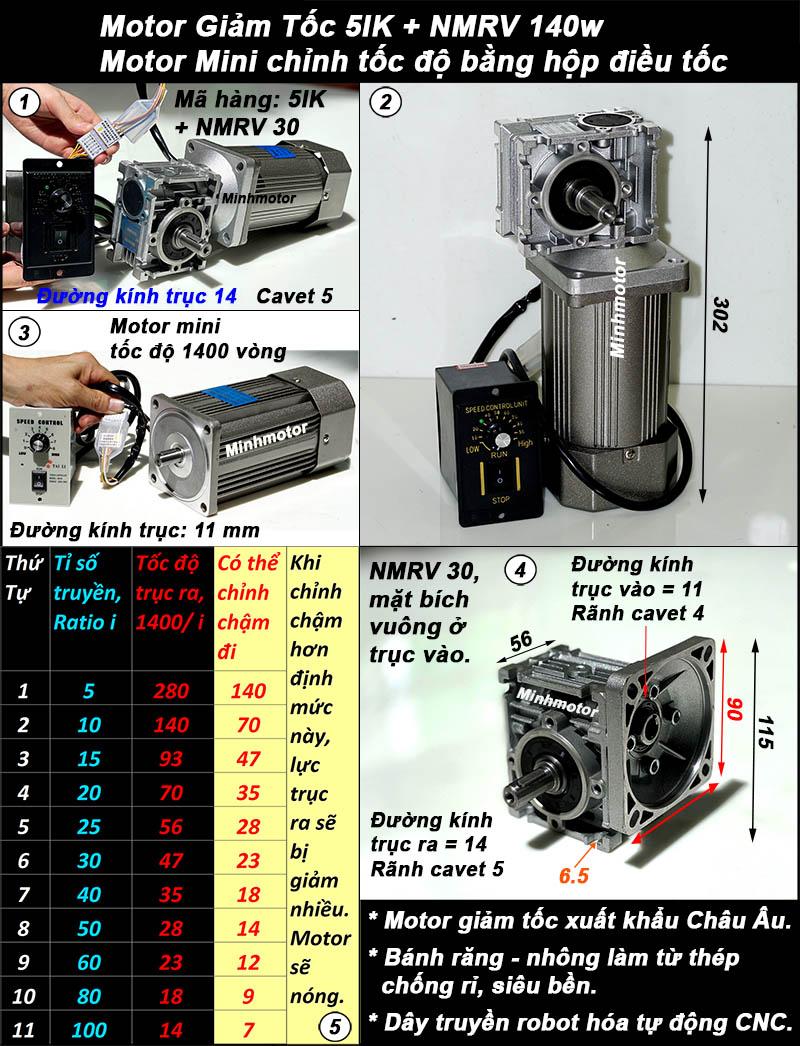 Động cơ giảm tốc 140w mini trục vuông góc, NMRV size 30