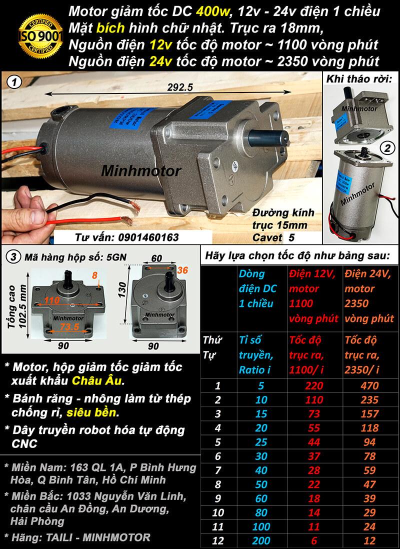 Động cơ giảm tốc 400w điện 1 chiều GS mặt bích