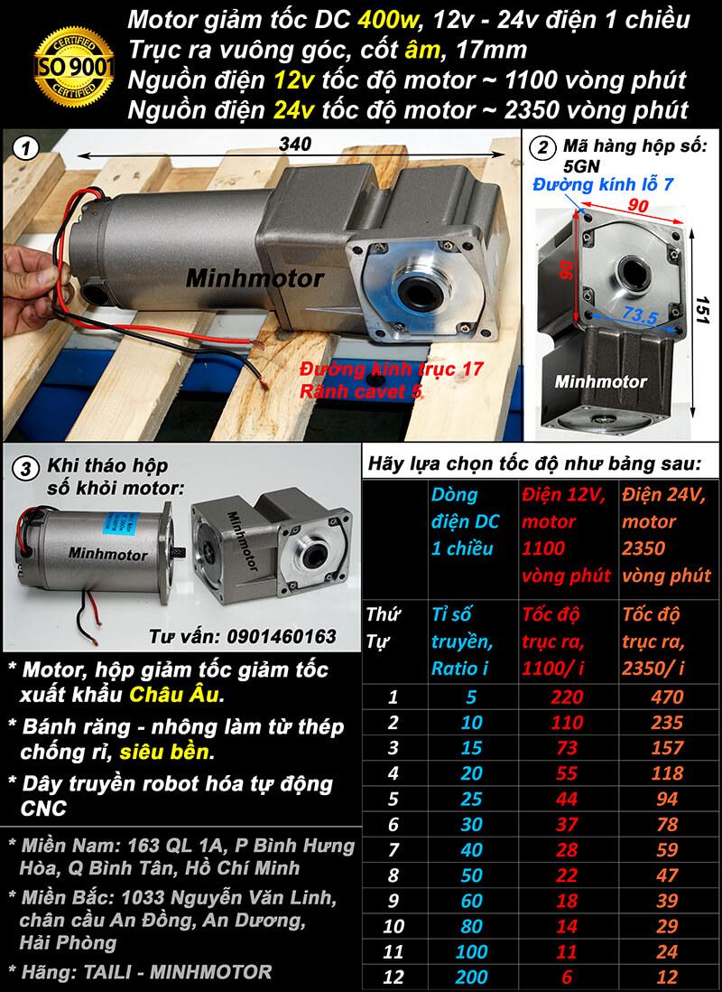 Motor 400w điện 1 chiều khi lắp với hộp số RH trục âm mini