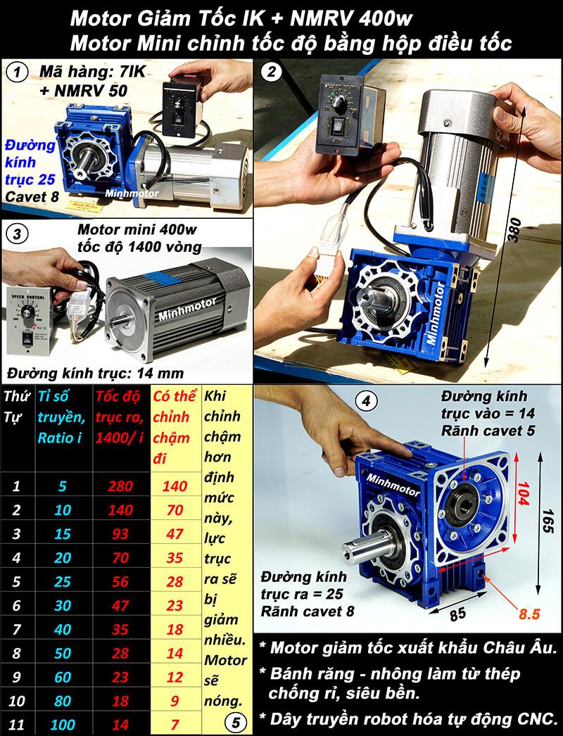 Motor giảm tốc 400w IRV, NMRV size 50
