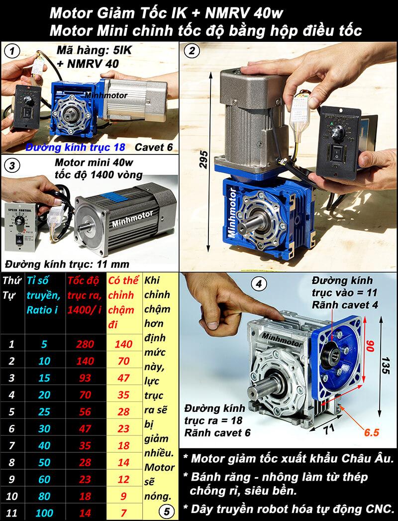 Motor giảm tốc 40w mini trục vuông góc, NMRV size 40
