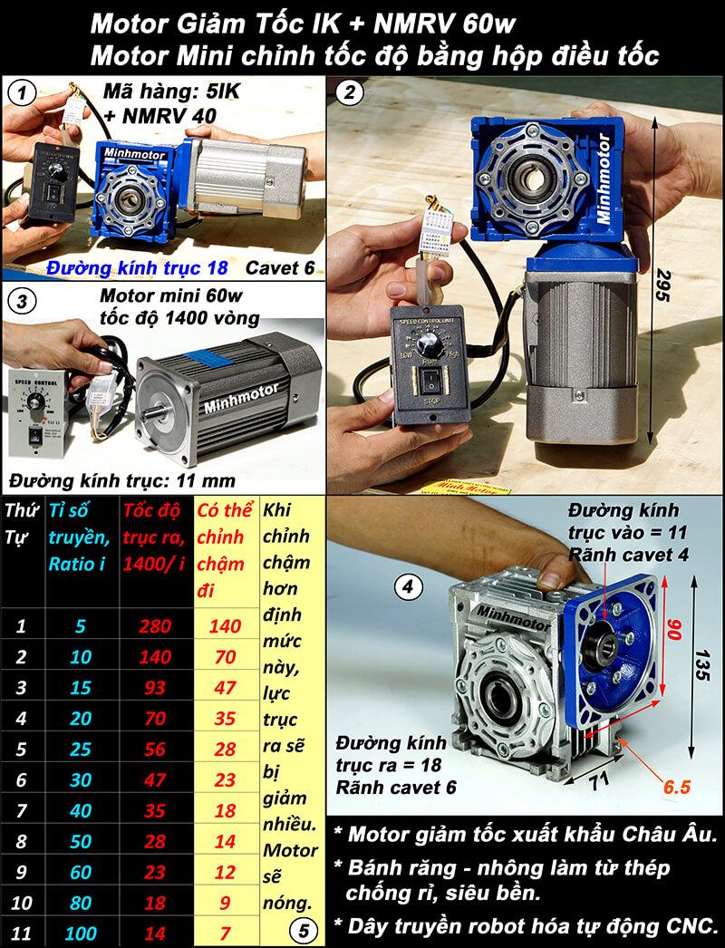 Motor giảm tốc 60w mini trục vuông góc, NMRV size 40