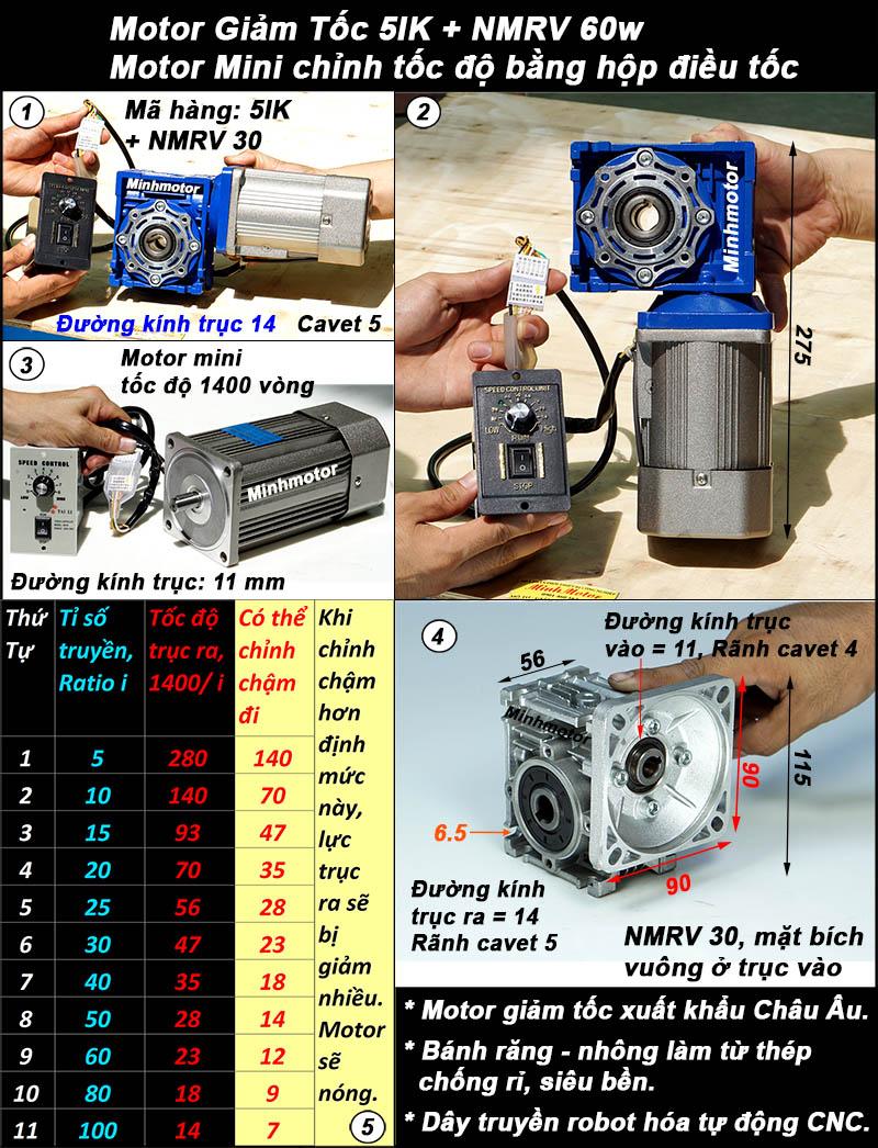 Motor giảm tốc 60w mini trục vuông góc, NMRV size 30