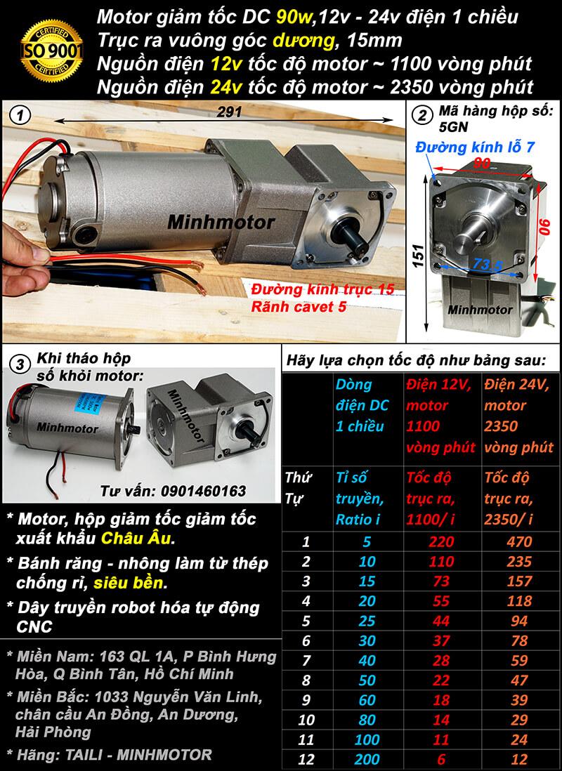 Motor 90w điện 1 chiều khi lắp với hộp số RH trục âm mini