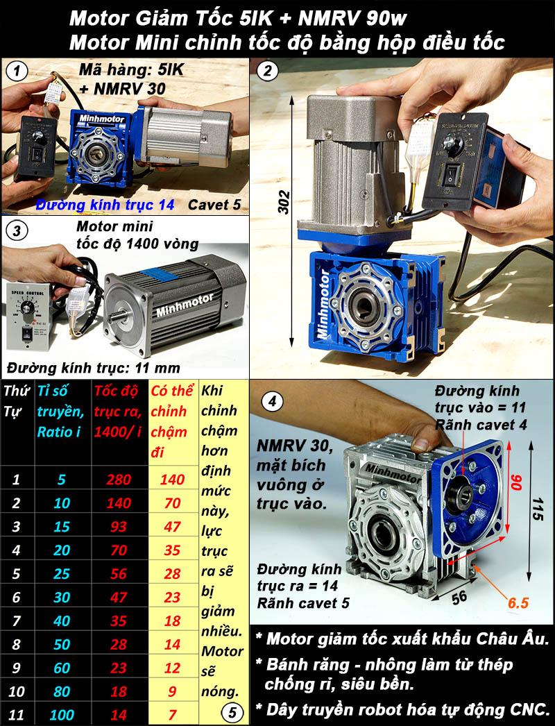Động cơ giảm tốc 90w mini trục vuông góc, NMRV size 30