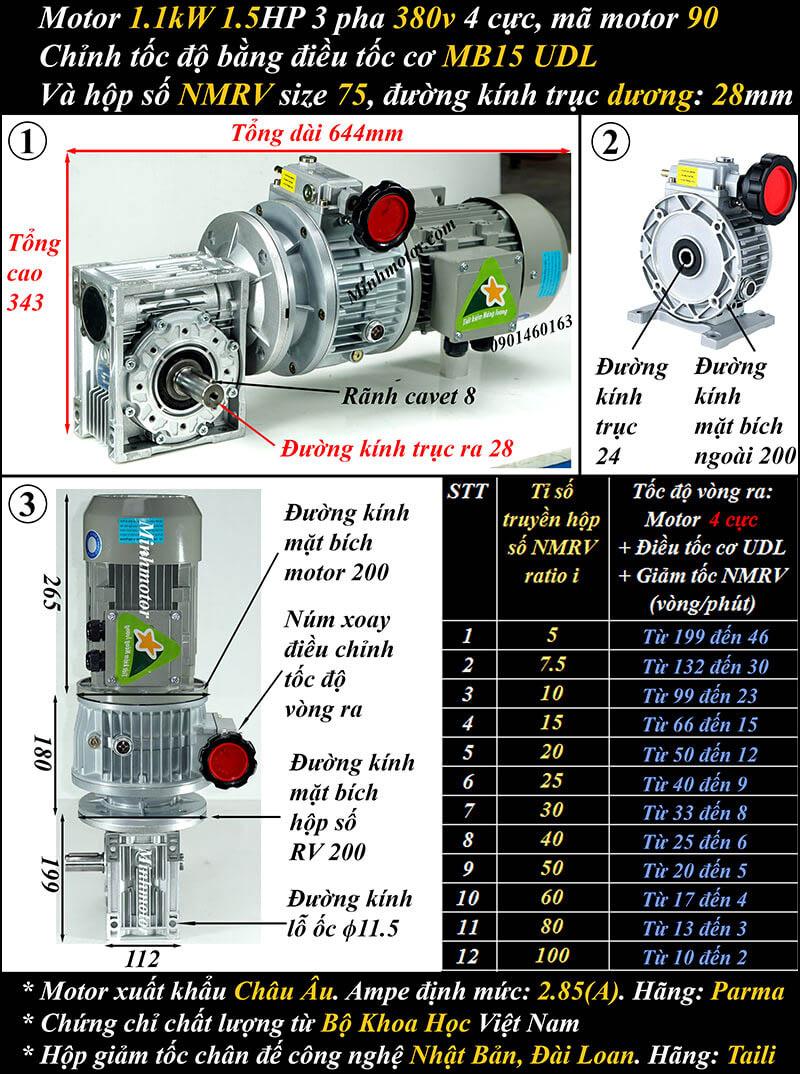 Bộ điều khiển tốc độ motor 1.1kw 1.5hp vuông góc trục dương