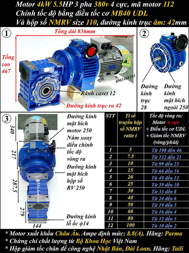 Bộ điều chỉnh tốc độ motor 3.7kw 5hp hộp số NMRV size 110 trục vuông góc