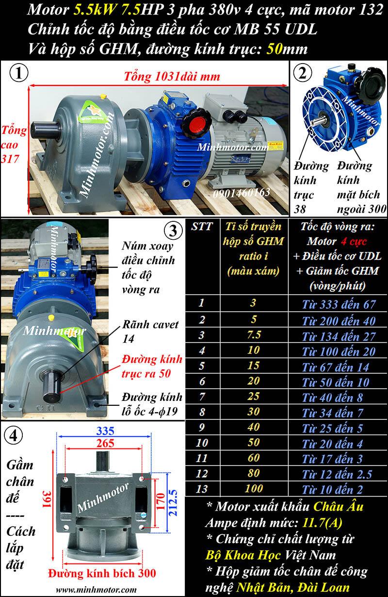 Bộ điều chỉnh tốc độ motor 5.5kw 7.5hp trục thẳng, đầu giảm tốc GHM trục 50