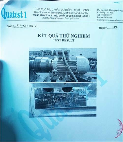 chứng nhận chất lượng motor 1.1kw 1.5hp