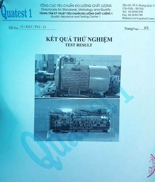 chứng nhận chất lượng motor 22kw 30hp