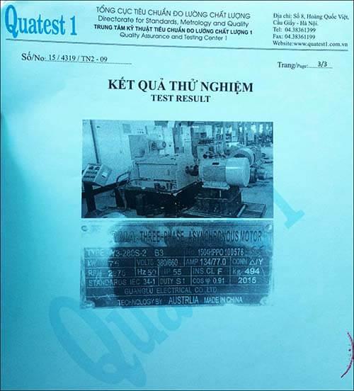 chứng nhận chất lượng motor 75kw 100hp