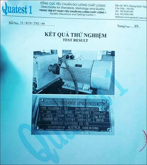 chứng nhận chất lượng motor 90kw 125hp